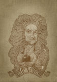 Isaac Newton sepia portrait engraving style. For editorial use stock illustration