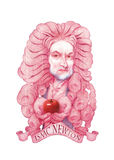 Isaac- Newtonkarikaturabbildung Stockbilder