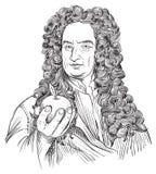 Isaac newtonu wektoru portret ilustracji