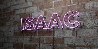 ISAAC - Rozjarzony Neonowy znak na kamieniarki ścianie - 3D odpłacająca się królewskości bezpłatna akcyjna ilustracja ilustracja wektor
