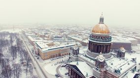 Isaac`s cathedral in Saint-Petersburg aerial shot stock video footage