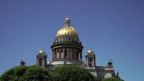 Isaac`s cathedral in Saint-Petersburg stock video