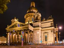 Isaac`s Cathedral on Isaac square in St. Petersburg in a dark summer night. RUSSIA, SAINT PETERSBURG - AUGUST 18, 2017: St. Isaac`s Cathedral on Isaac square in Stock Image