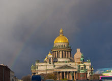 Isaak Cathedral against the dark sky Stock Photos