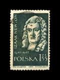 Isaak Newton berömd forskare, utforskare, fysiker, matematiker, astronom, Polen, circa 1959, royaltyfri bild