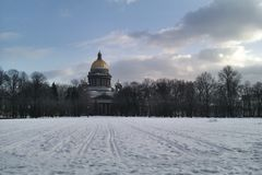 Isaak's cathedral. Horizontal winter landscape with Isaak's cathedral in Saint-Petersburg Russia Stock Images