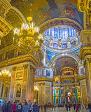 The Isaakievskiy Cathedral in St Petersburg. SAINT PETERSBURG, RUSSIA - APRIL 25, 2015: The St Isaac's Cathedral is one of the most impressive religious objects Royalty Free Stock Photography