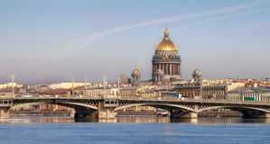 Isaakievsky Cathedral in Saint-Petersburg. Classical view of Neva river with Isaakievsky Cathedral in Saint-Petersburg, Russia Stock Image