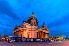 Isaakievsky cathedral. St. Isaac's Cathedral during the white nights in St. Petersburg Stock Photos