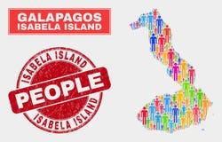 Isabela Island av folk för Galapagos översiktsbefolkning och den orena skyddsremsan vektor illustrationer