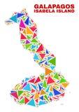 Isabela Island del mapa de las Islas Galápagos - mosaico de los triángulos del color stock de ilustración