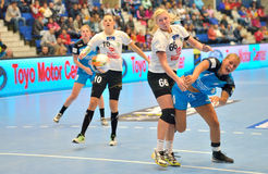 Isabelle Gullden, player of CSM Bucharest attacks during the match with MKS Selgros Lublin Stock Images