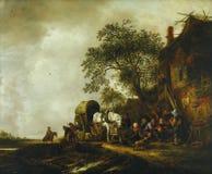 Isack van Ostade - viajeros que paran en un mesón, c 1635-49 fotos de archivo