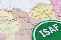ISAF. Close-up of a Afghanistan map Stock Photos