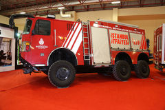 ISAF Security fair. ISTANBUL, TURKEY - SEPTEMBER 12, 2015: Fire Truck in ISAF Security fair in Istanbul Fair Center Royalty Free Stock Image