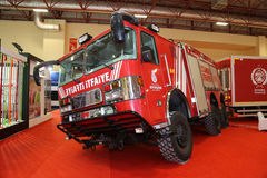 ISAF Security fair. ISTANBUL, TURKEY - SEPTEMBER 12, 2015: Fire Truck in ISAF Security fair in Istanbul Fair Center Royalty Free Stock Photography