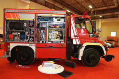 ISAF Security fair. ISTANBUL, TURKEY - SEPTEMBER 12, 2015: Fire Truck in ISAF Security fair in Istanbul Fair Center Royalty Free Stock Images