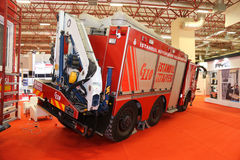 ISAF Security fair. ISTANBUL, TURKEY - SEPTEMBER 12, 2015: Fire Truck in ISAF Security fair in Istanbul Fair Center Stock Images