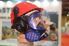 ISAF Security fair. ISTANBUL, TURKEY - SEPTEMBER 12, 2015: Gas mask and helmet in ISAF Security fair in Istanbul Fair Center Stock Image