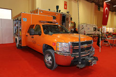 ISAF Security fair. ISTANBUL, TURKEY - SEPTEMBER 12, 2015: Search and rescue vehicle in ISAF Security fair in Istanbul Fair Center Royalty Free Stock Image
