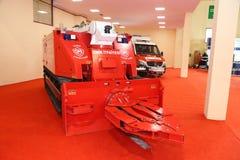 ISAF Security fair. ISTANBUL, TURKEY - SEPTEMBER 12, 2015: Tracked fire truck in ISAF Security fair in Istanbul Fair Center Stock Image
