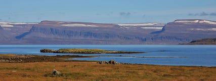 Isafjardardiup, φιορδ στο βόρειο τμήμα της Ισλανδίας Ηλιόλουστο πρόσφατο καλοκαίρι Στοκ Εικόνα