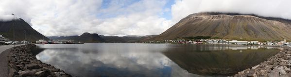 Isafjordur panoramic. Panoramic view of the town of Isafjordur in the NorthWest of Iceland. Image obtained by stitching multiple pictures Royalty Free Stock Images