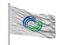 Isahaya-Stadt-Flagge auf Fahnenmast, Japan, Präfektur Nagasaki, lokalisiert auf weißem Hintergrund stock abbildung
