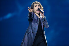Isaiah from Australia during Eurovision Song Contest royalty free stock images