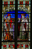 Isaiah and Jeremiah - Stained Glass. Stained Glass window depicting the Old Testament prophets Isaiah and Jeremiah, in the Cathedral of Saint Rumbold in Mechelen Royalty Free Stock Image