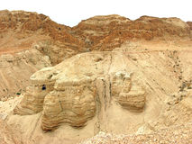 Isaiah Scroll Cave. Cave where the famous Isaiah scroll was found in Qumran, Israel Stock Image