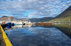 Isajfordur harbour, Iceland. Isajfordur harbour a sunny summer day Royalty Free Stock Photo