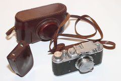 Isalated vintage camera and light meter Royalty Free Stock Image