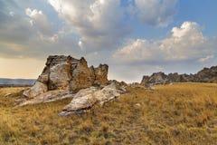 Isalo Krzak pustyni zmierzchu krajobraz w Madagascar Obraz Stock