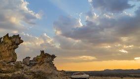 Isalo Krzak pustyni zmierzchu krajobraz w Madagascar Fotografia Royalty Free
