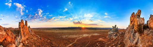 Isalo sunset panorama Royalty Free Stock Image