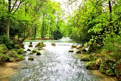 Isar river in English Garden Park Stock Image