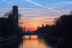 Isar river and famous deutsches museum at sunset, old town of mu Royalty Free Stock Photography