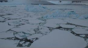 Isark som ifrån varandra bryter av kusten av Antarktis royaltyfri fotografi