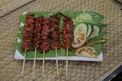 Isaw ng Manok Grilled Chicken Intestine royalty free stock photo