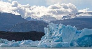 Isberg i vattnet, glaciären Perito Moreno arenaceous Arkivbilder