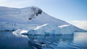 Isberg som svävar i paradiset, skäller i Antarktis arkivbild