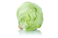 Isberghuvud av den isolerade nya grönsaken för grönsallat Royaltyfria Bilder