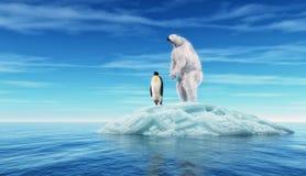 Isbjörn och en pingvin Arkivbild