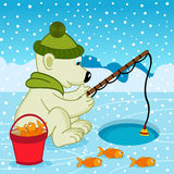 Isbjörn på fiske royaltyfri illustrationer