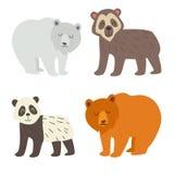 Isbjörnen, den glasögonprydda björnen, pandan och brunbjörnen ställde in Plan tecknad filmvektorillustration Arkivfoton
