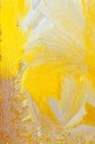 Isblommor och frostmodell på frostigt fönsterexponeringsglas royaltyfria foton