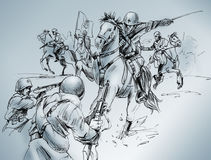 Isbuscenskij battle. Hand-made drawing of a scene of the battle of Isbuscenskij, which took place in 1942 between Russian army and Italian cavalry, who won the Royalty Free Stock Photo