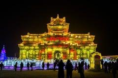 Isbyggnader på den Harbin isen och Snowvärlden i Harbin Kina Arkivfoto