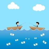 isca do dólar do uso de 2 homens de negócios para travar o concep do negócio da cédula ilustração stock